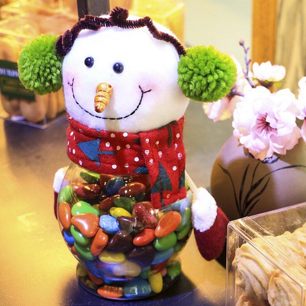 Tarro de Dulces 3 Piezas de Plástico de Felpa dulce de Navidad Contenedor del Tanque para Regalo de Niños y Decoración del Hogar: Amazon.es: Hogar
