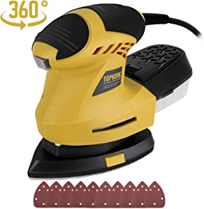Mouse Detail Sander, Ginour 1.6A 200W 12,000 OPM Sander with 10 Pcs Sandpapers (80 & 180 Grits), 360°Rotatable Sanding Pad, 3M Cord, Dust Collection System For Tight Spaces Sanding in Home Decoration