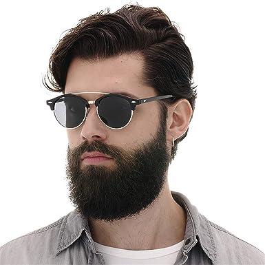 0811da470b50 Amazon.com: Men Polarized Sunglasses UV400 Women Brand Design Club Round  Sun Glasses Double Bridge Eyewear For Male Female no box black green:  Clothing