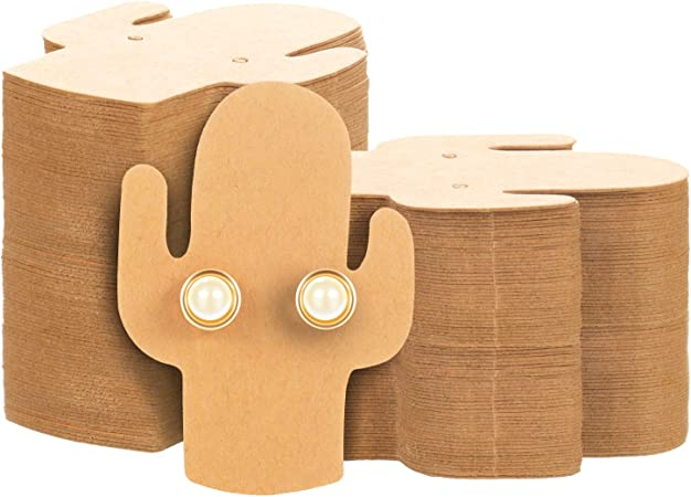 Earrings and Jewelry Display 400 Pieces Cactus Earring Card Holder Jewelry Display Cards Blank Kraft Paper Tags for Ear Studs