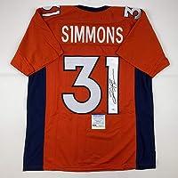 $109 » Autographed/Signed Justin Simmons Denver Orange Football Jersey PSA/DNA COA