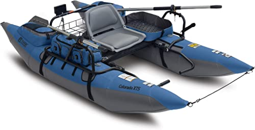 Classic Accessories Colorado XTS Inflatable Fishing Pontoon Boat With Transport Wheel, Motor Mount Swivel Seat