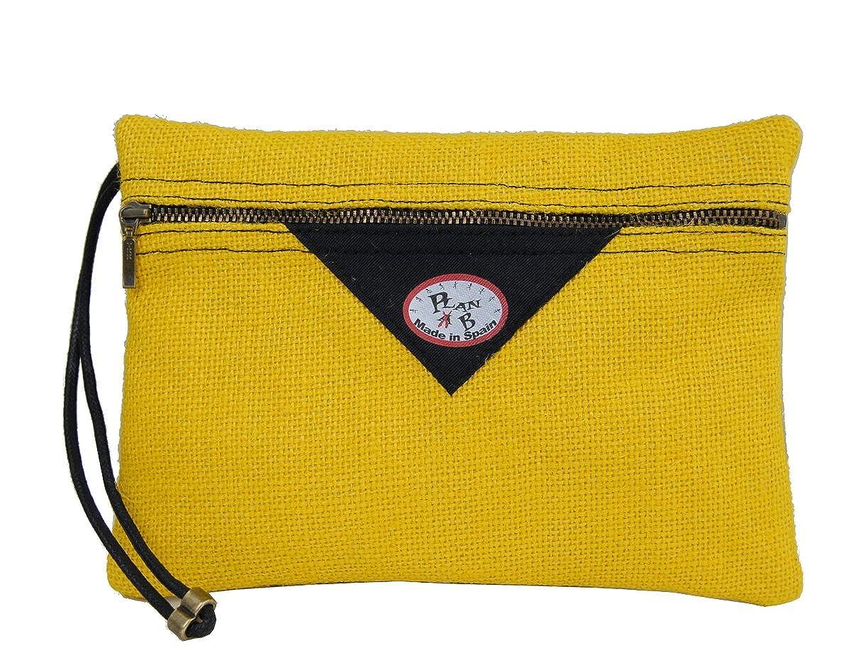 Yute natural amarillo Hecho a mano en Espa/ña. Dos compartimentos Cord/ón de algod/ón Plan B Bolso de Mano Clutch TAXI 23 X 17 X 2 cm