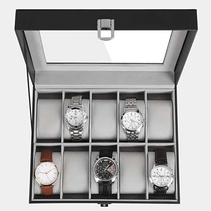 SONGMICS Caja de Relojes con 10 Compartimientos, Estuche de Madera para Relojes, Tapa de Vidrio, Almohadillas Extraíbles, Forro de Terciopelo, ...