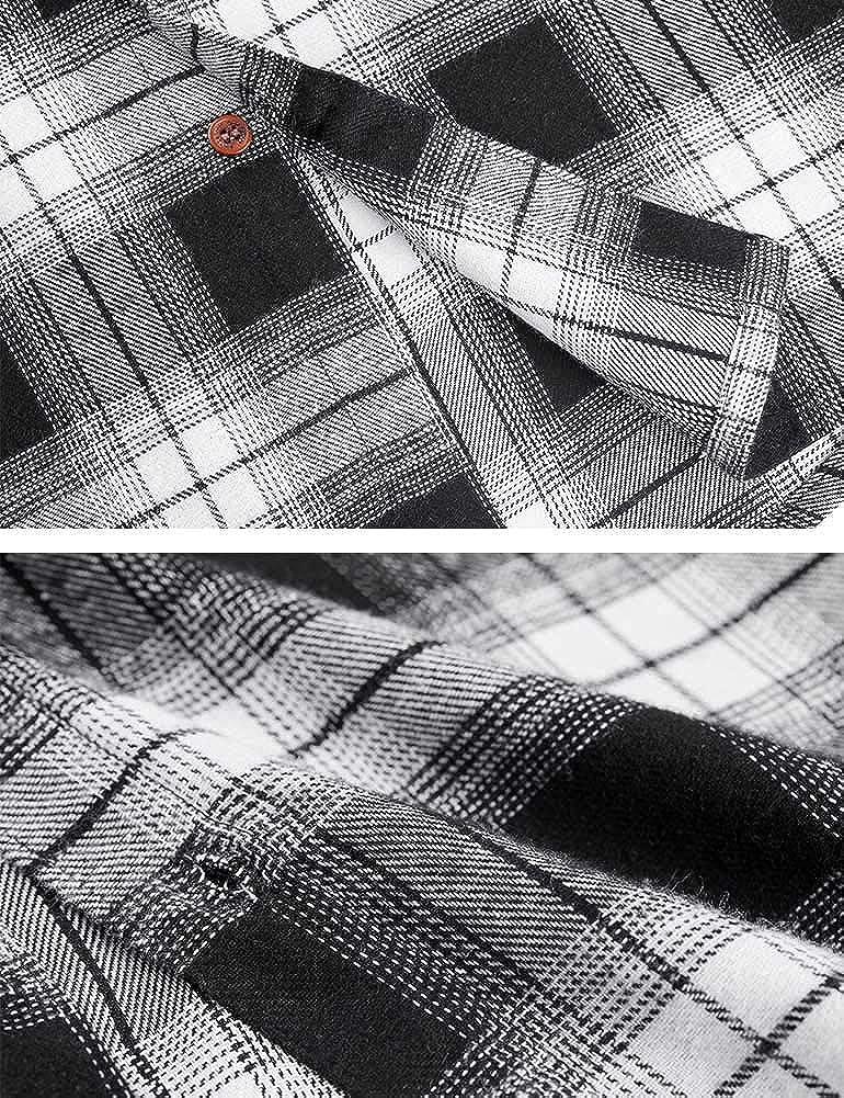 Spring/&Gege Camisa informal de manga larga con botones de franela para ni/ños 5-14 a/ños