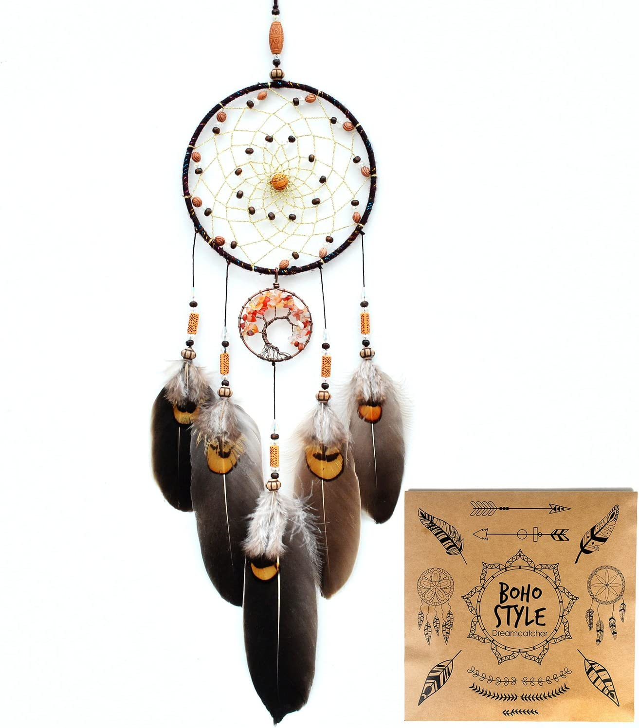 Urdeoms Dream Catcher Handmade Tree of Life Dream Catchers with Feathers Wall Hanging Home Decor Dia 5.1
