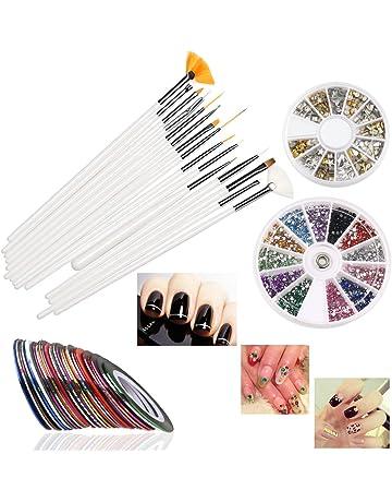 RUIMIO 15 pcs Pinceles para Uñas , 12 colores Uñas Stickers , 30 colores Cinta Nail