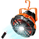 Lixada Camping Fan with LED Lantern 2-in-1 Rechargeble Portable Camping Fan Light Hanging Tent for Camping Fishing Picnic Bar