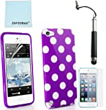 ZAFOORAH® Case Cover for Apple iPod Touch 4 4th Generation Multiple designs +Free Stylus+Screen Protector+Microfiber Cloth (Polka Dot - PURPLE)