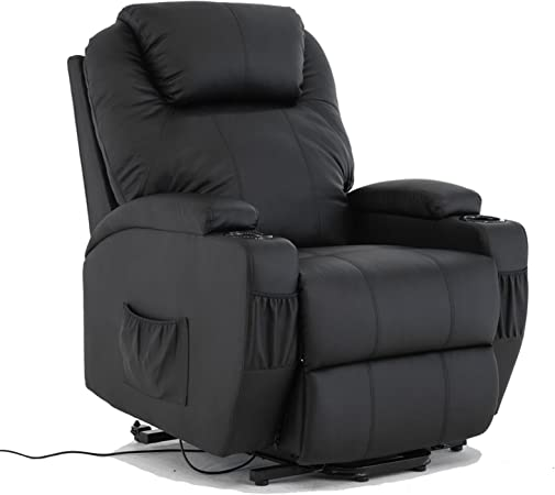 mecor Electric Recliner Armchair in Leather Lift and Tilt Rise Mobility Chair with Cup Holder for Living Room,Black
