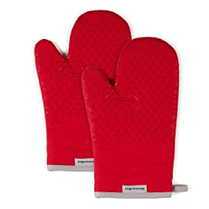 KitchenAid Asteroid Cotton Oven Mitts with Silicone Grip, Set of 2, Red