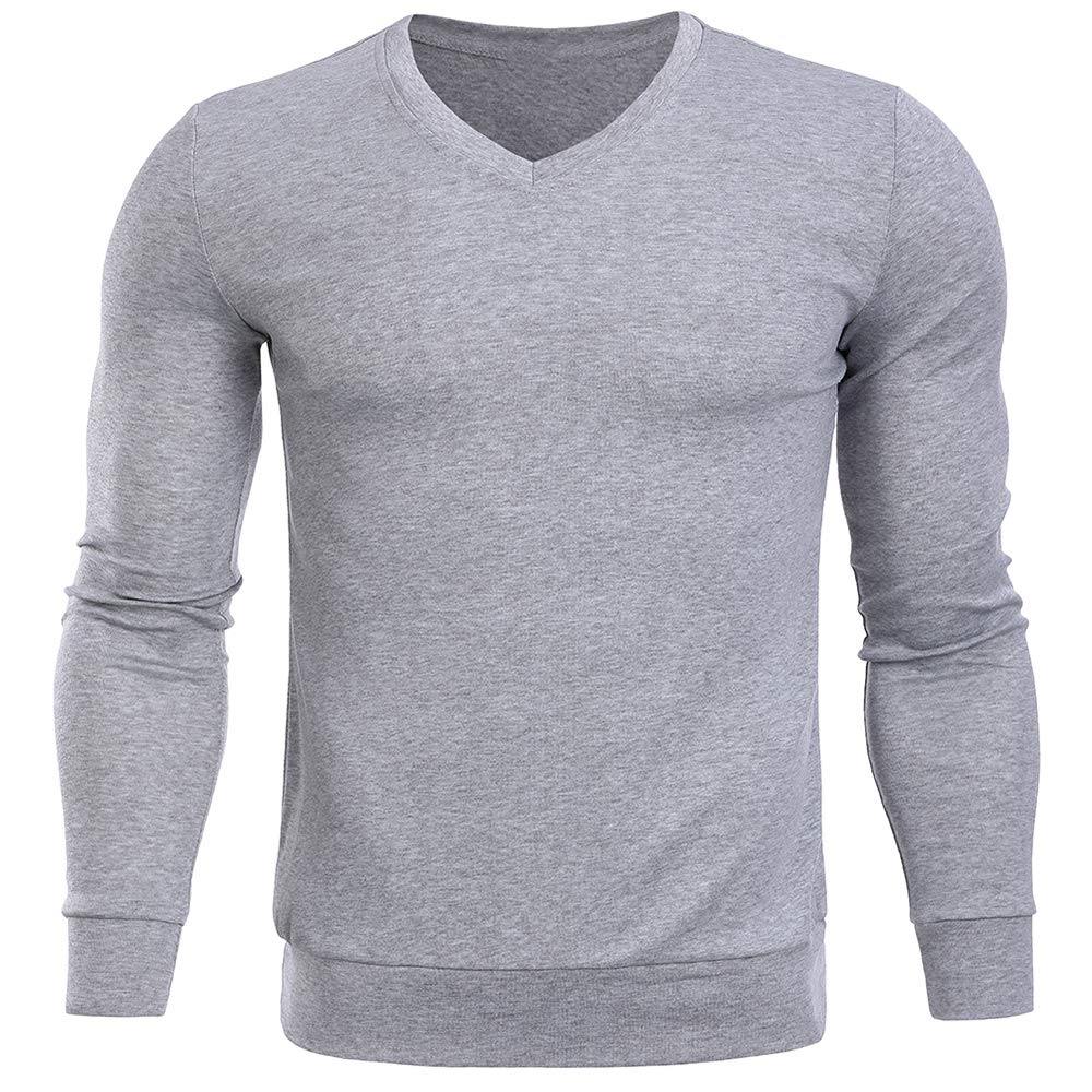 Sevem-D Pullover Men V Neck Sweater Men Long Sleeve Mens Sweaters Tops Thin Knit