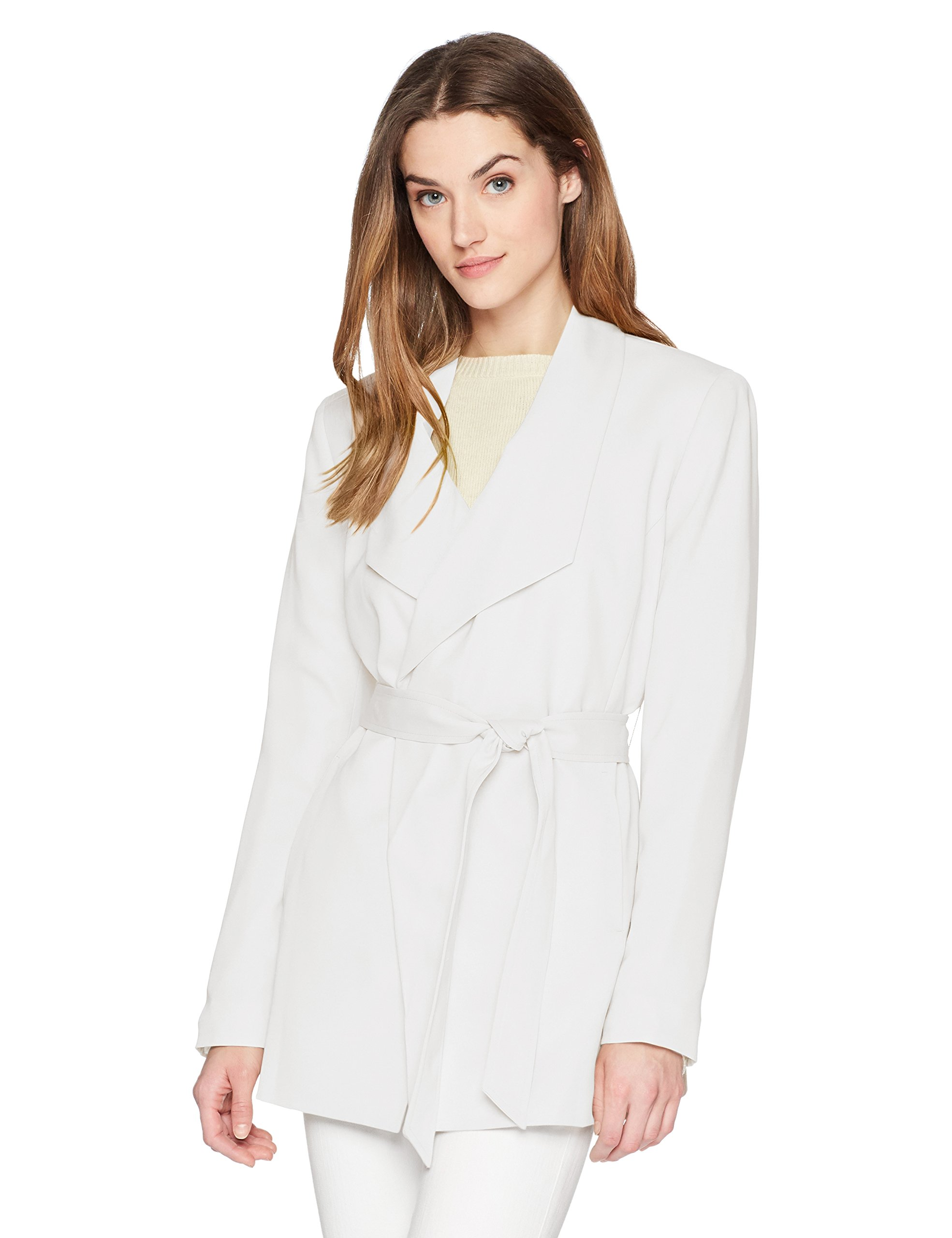 Nine West Women's Crepe Tie Front Trench Coat, Lily, 14