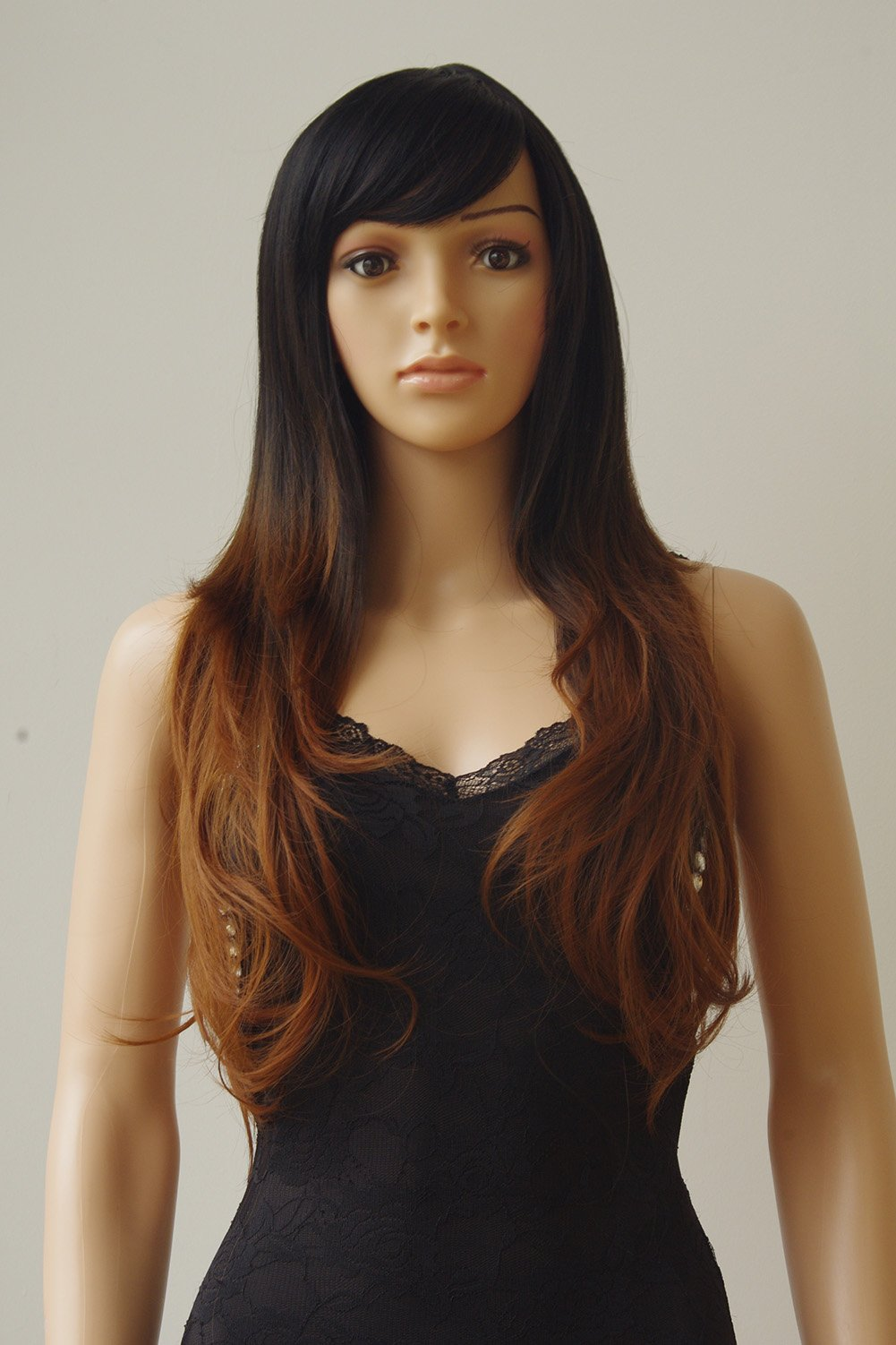 28''/70cm Brown Ombre Long Cosplay Wig with Bangs 2 Tone Color Natural Wave Heat Resistant Synthetic Costume Wigs Dyeing Color Curly Wavy Party Dress,Black to Brown by Sexybaby (Image #2)