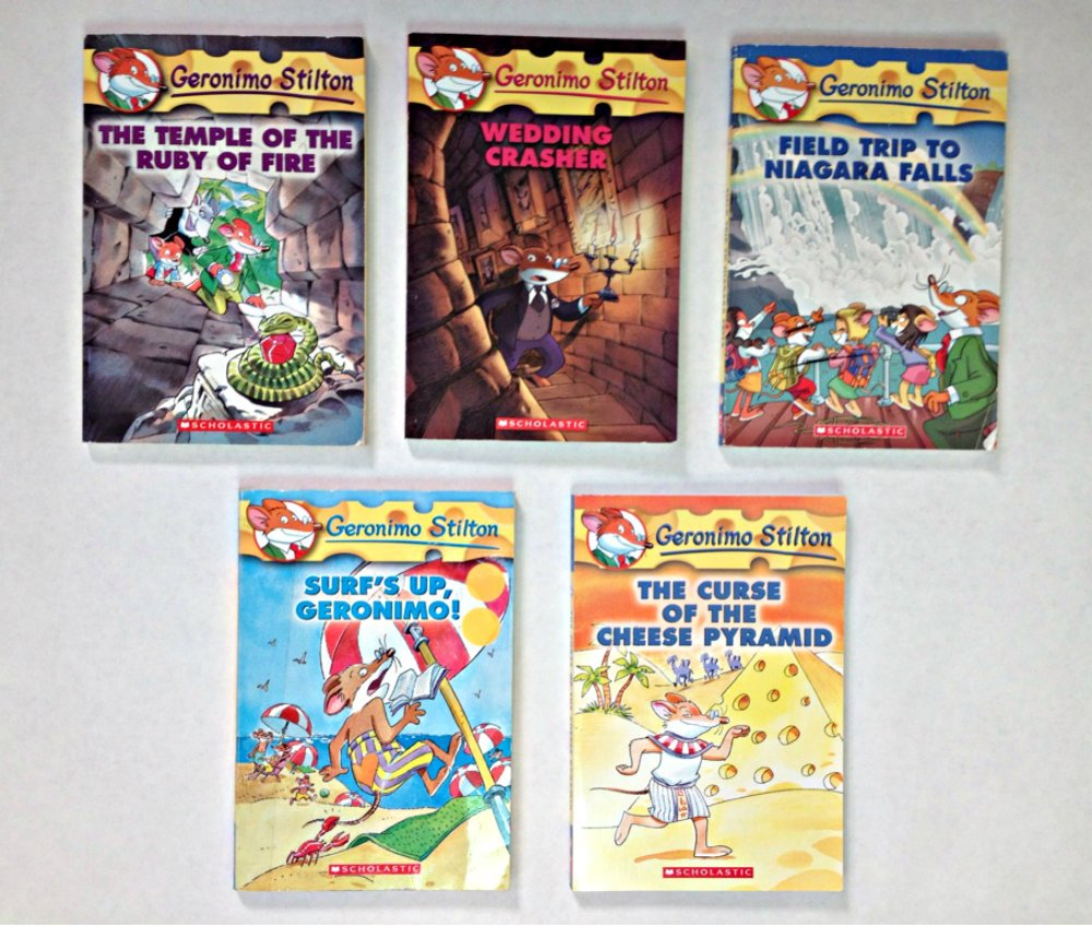 Geronimo Stilton 5 Book Set: The Temple of the Ruby of Fire, Wedding  Crasher, Field Trip to Niagara Falls, Surf's Up, Geronimo!