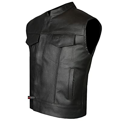 SOA Men's Leather Vest Anarchy Motorcycle Biker Club Concealed Carry Outlaws L: Automotive