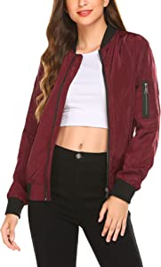 Zeagoo Women Classic Solid Biker Jacket Zip up Bomber Jacket…