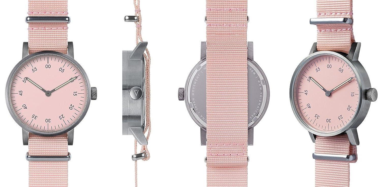 Void V03B-BR-PK-PK Unisex Edelstahl Pink Nylon Armband Pink Zifferblatt Analog uhr