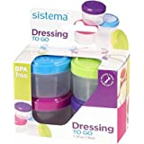 Sistema To Go Collection 1.18 oz. Salad Dressing Containers, Pink/Green/Blue/Purple, 4 Pack | BPA Free, Reusable