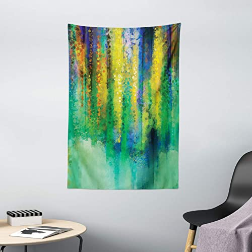 Ambesonne Watercolor Flower Tapestry, Abstract Style Spring Floral Watercolor Style Painting Image Nature Art, Wall Hanging for Bedroom Living Room Dorm Decor, 40 X 60 , Green Yellow