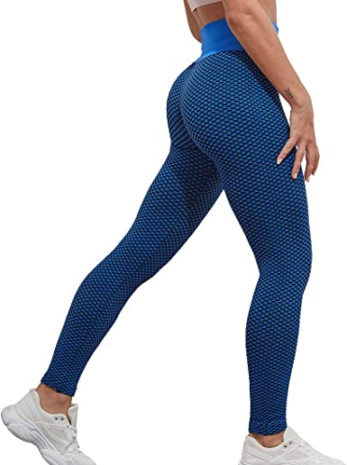 Manooby Pantalon Yoga Leggings de Compression Anti-Cellulite Slim Fit Butt Lift Elastique Pantalon de Sport Taille Haute sans Couture pour Femme