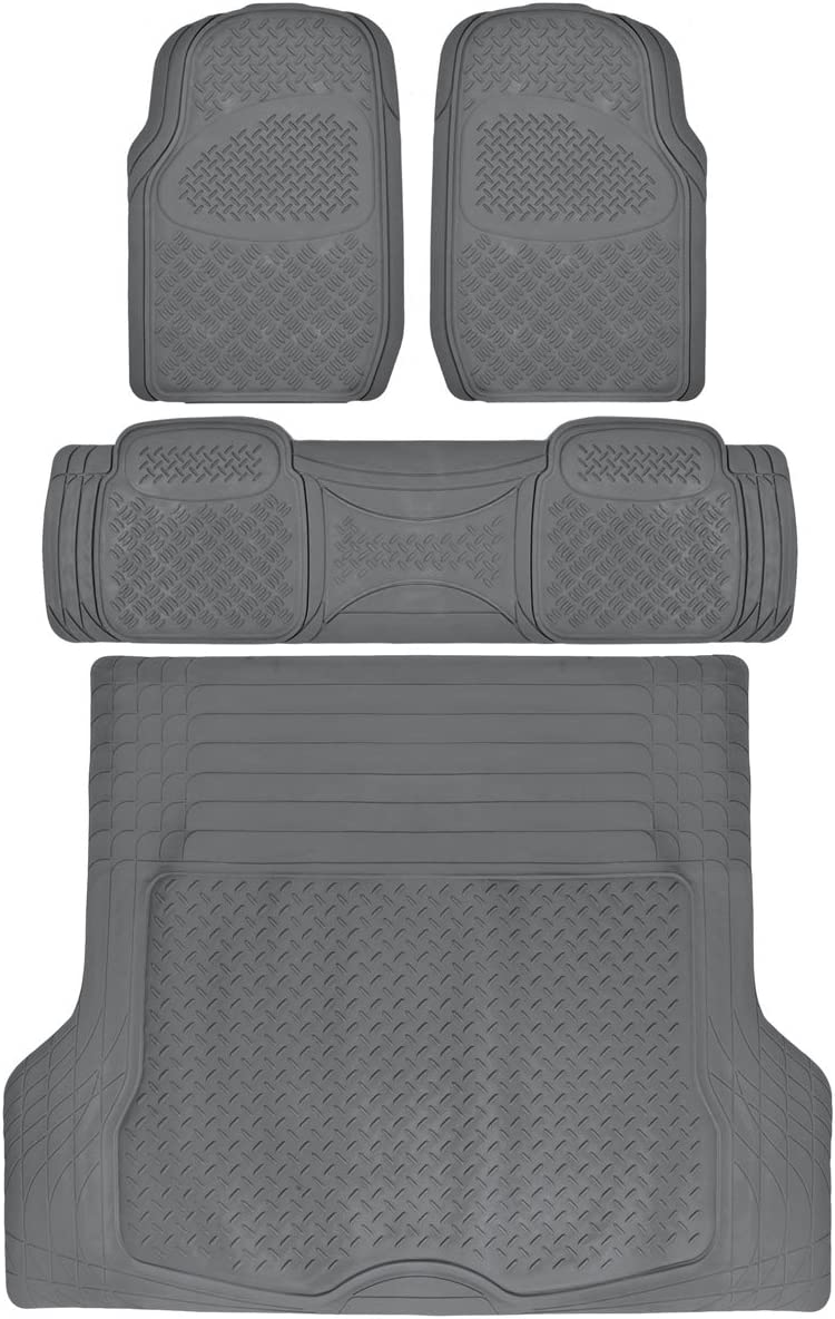 4PC All Weather Heavy Duty Rubber SUV Floor Mats Black 2 Row Trunk Liner