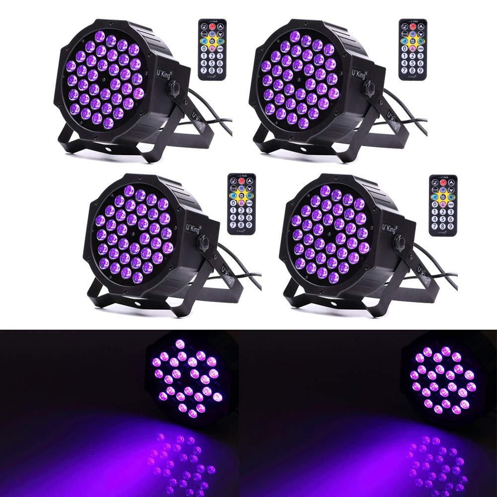 U`King Black Light 72W UV LED Blacklight Glow in The Dark Party Supplies Par Lights for Stage Lighting Wedding Birthday Neon Parties