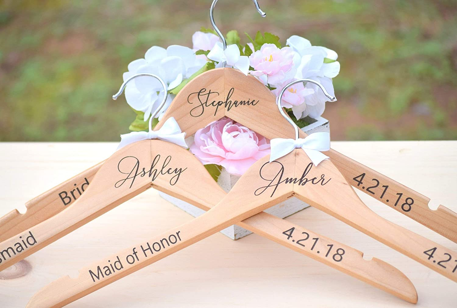 Personalised Bridal Hangers Wedding Dress Bridesmaid Maid of Honour Wood White