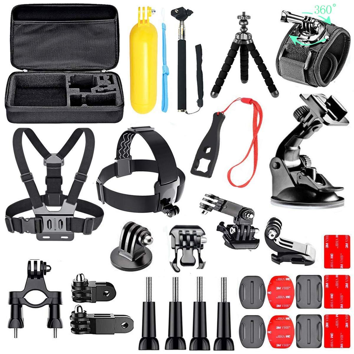 per Hero 7 6 5 Action Camcorder Camera Accessory Bundle Set Custodia da trasporto Cinturino pettorale Testa per bici Supporti per auto Gopro Accessory Kit 2019 Edion