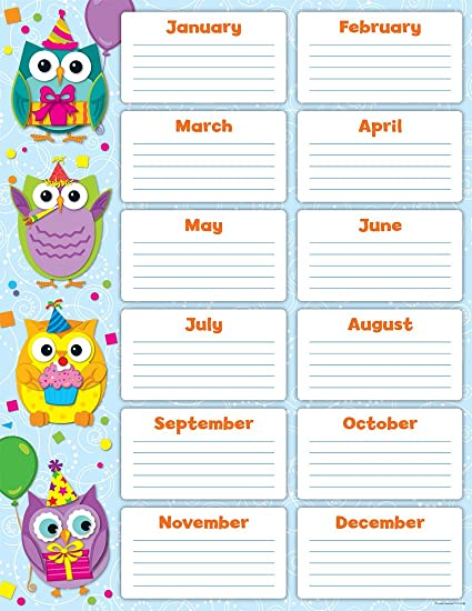 Amazon Carson Dellosa Colorful Owls Birthday Chart 114199