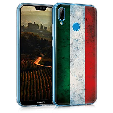 kwmobile Case for Huawei P20 Lite - TPU Silicone Crystal Clear Back Case Protective Cover IMD Design - Green/White/Red