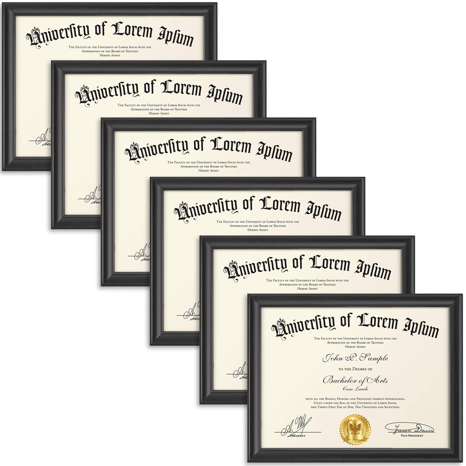 Icona Bay 8.5x11 Diploma Frame (6 Pack, Black), Certificate Frame, Document Frame, Composite Wood Frame for Walls or Tables, Set of 6 Lakeland Collection by Icona Bay