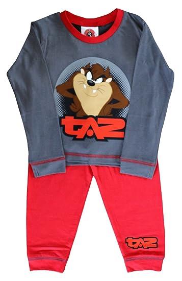 Looney Tunes Taz Camiseta Oficial de Pijama con Mangas largas Para Niño certificada Conjunto Pijama de