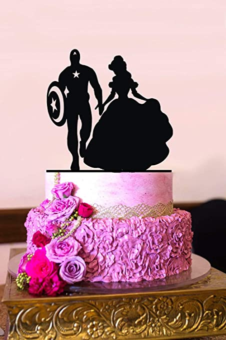 Captain America And Belle Silhouette Wedding Cake Topper Mr And