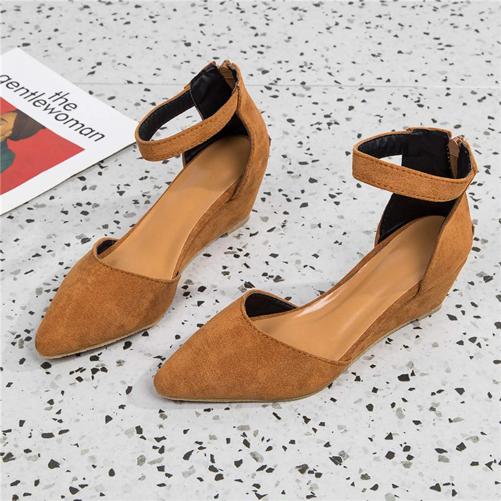 Ankle Strap Sandals Shoes Women Office Sandals Formal Dress Shoes Ziiper Pointed Toe Wedges Sandals by Gyouanime