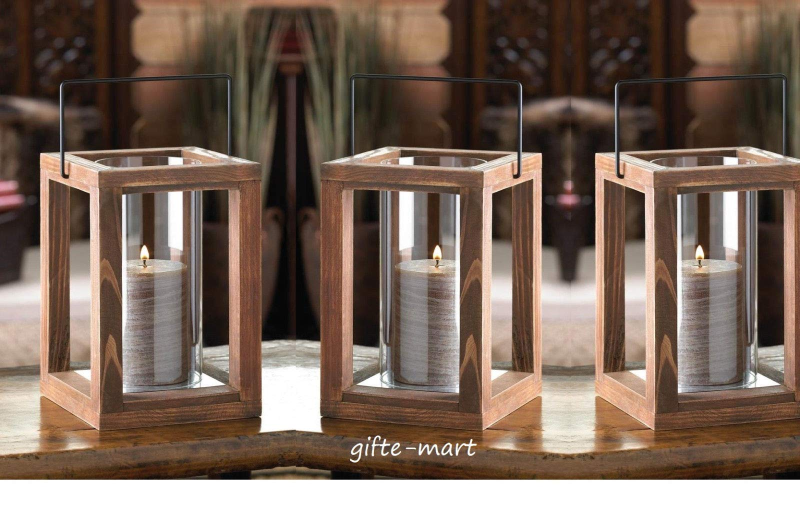 5 Brown Wood Hurricane Pillar Candle Holder Lantern Wedding Table Decoration Decorative Centerpieces for Living Dinning Room Table Decoration, Wedding Gifts