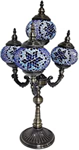 Turkish Moroccan Retro Table Lamp 4 Head Handmade Mosaic Glass Desk Lights Tiffany Style Romantic Night Light for Bedroom Living Room Cafe Decorative, 110-240V