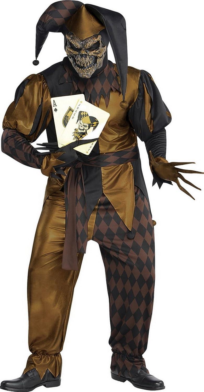 Confettery - Herren Männer böser Joker Kostüm, Gürtel, Maske, Oberteil, Hose, Handschuhe, Hut und 2 Spielkarten, 2XL, Bronze