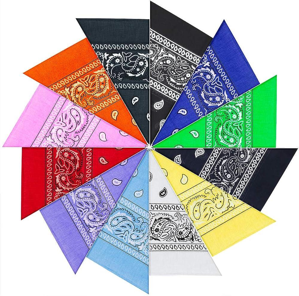 PITAYA 12pcs Pañuelos Bandanas,Multicolor bandanas con estampado para Cabeza y Cuello,Multifuncional Pañuelos Bandanas para Hombre y Mujer
