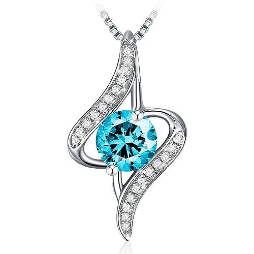 """Cadeau Maman Collier J.Rosée Argent 925 Bijoux Femme/Fille, 5A Zirconium cubique Bleu, Pendentif Idéal, Chaîne 45+5cm, Cadeau parfait """"Gardien de l"""