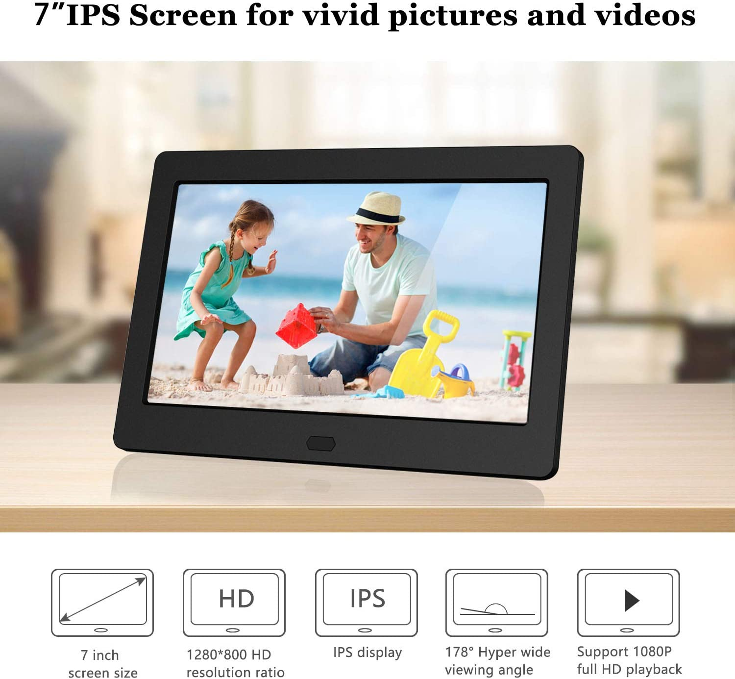 Remote Control,Black Support USB and SD Card CWHALE Digital Photo Frame 15 Inch1280/×800 High Resolution IPS Display Photo//Music//Video Player Calendar Alarm Auto On//Off Timer