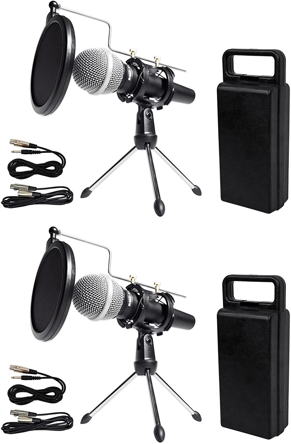 (2) Rockville Dynamic Podcasting Podcast Microphones+Stands+Pop Filters+Cables 71VIick2o3L