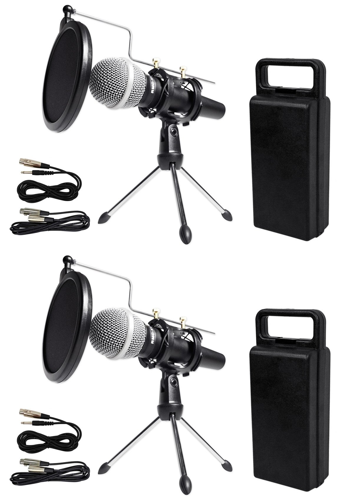 (2) Rockville Dynamic Podcasting Podcast Microphones+Stands+Pop Filters+Cables by Rockville