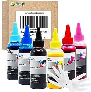 Printers Jack 600ml Sublimation Ink Press Heat Transfer Ink for Artisan 1430 Stylus Photo 1400 T50 L800 L805 837 730 835 810 Printers Artisan 1410 1500W RX560 RX580 on Mug Cup T-Shirt Pillow