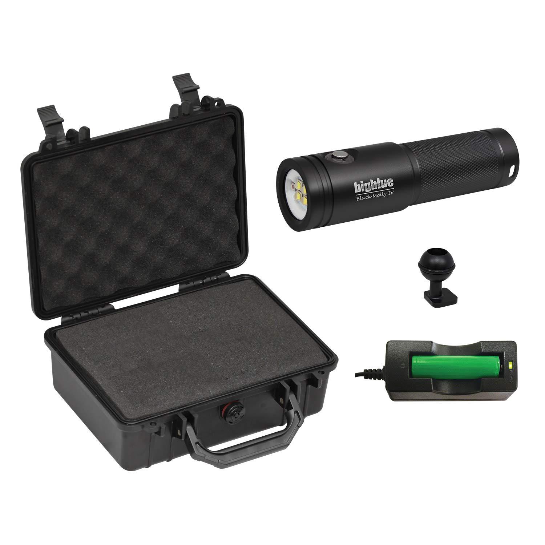 BigBlue AL1800XWP-II 1800 Lumen Tri-Color Dive Video Light (Black with Case)