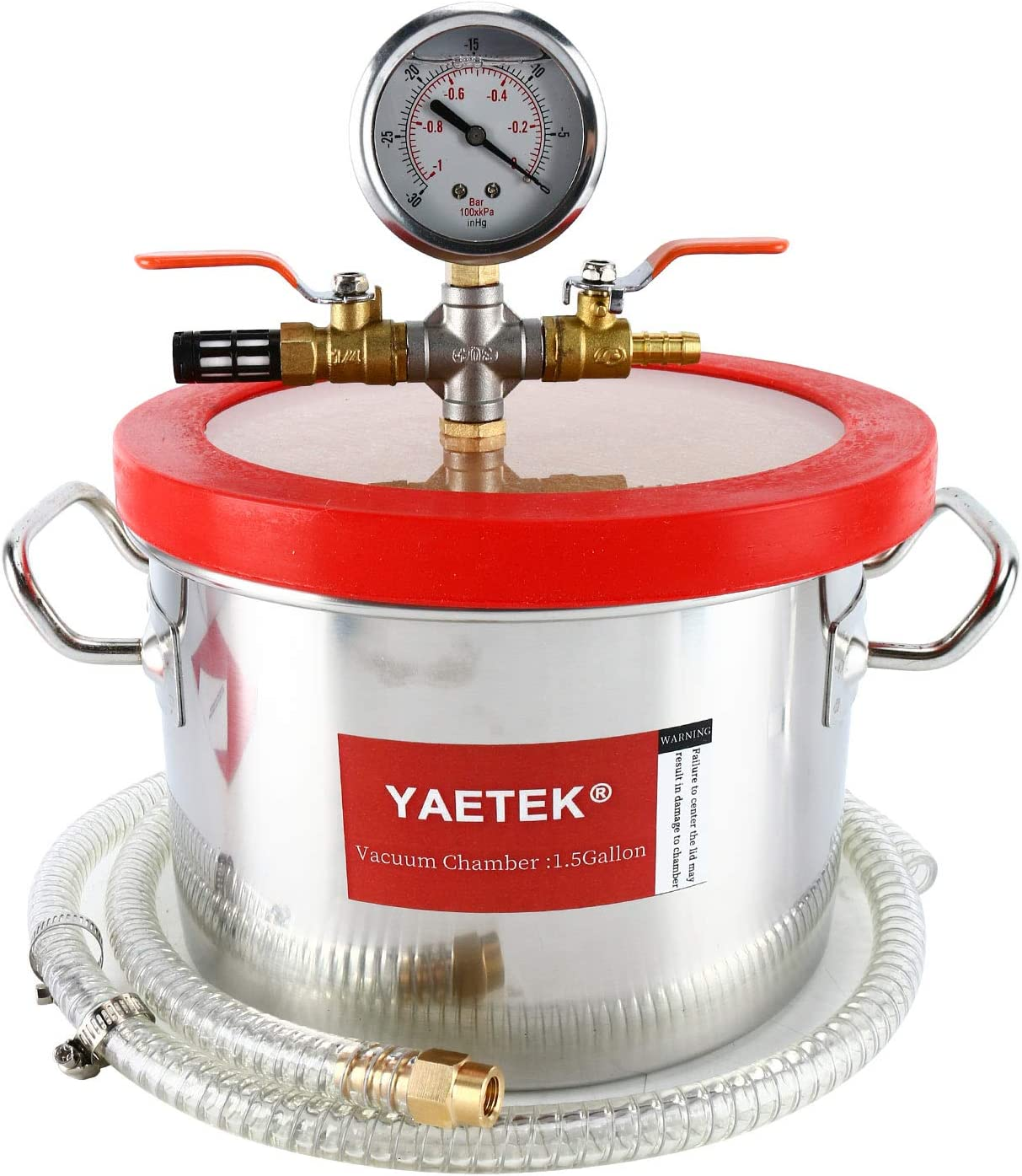 YAETEK 1.5 Gallon Stainless Steel Vacuum Chamber Silicone Kit for Degassing Resins, Silicone and Epoxies