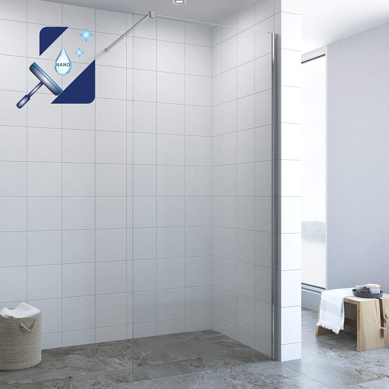 Walk In - Mampara de ducha de cristal (100 cm, 10 mm, con ...