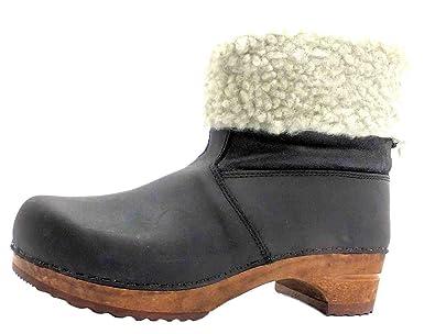 fa542cbcb14542 Size 9 Women s Wood-gro Sanita Black Lamb Fur Lined Leather Ankle Boots