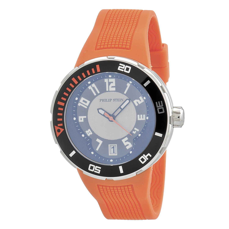 Philip Stein – 34-brg-ro – Armbanduhr – Quarz Analog – Zifferblatt schwarz Armband Silikon Orange