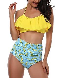 75a3ec22d FANTASIEN Mujeres Retro Falbala Flounce Halter Cuello Alto Cintura Bikini  Parte inferior Bañador Dos Piezas Traje